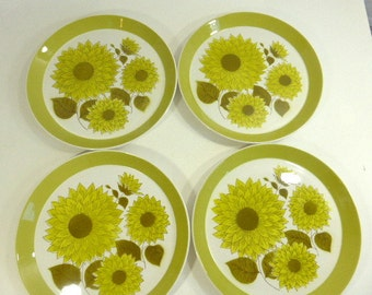 Vintage Mikasa Duplex by Ben Seibel Set of 5 Dinner Plates and 1 Serving Platter Vintage Floral Green White Dinnerware  Replacement China