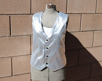 Vintage Metallic Silver Vest with Square Black Buttons