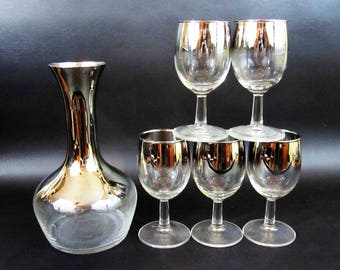Vintage Silver Ombre Decanter and 5 Glass Set in Dorothy Thorpe Style. Circa 1960's.