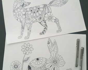 fox and rabbit adult colouring pages
