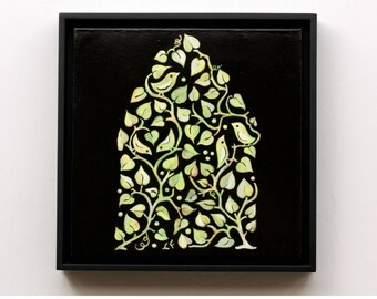 Songbird House, original painting, framed, ready to hang, from the Topiary Series by Lisa Firke