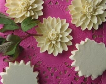 2 Vintage Celluloid Dahlia Flower