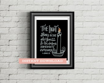 The Light Shines in the Darkness, Bible Verse Chalkboard Printable, Christian Digital Download, Instant Gifts for Women