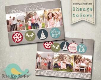Christmas Card PHOTOSHOP TEMPLATE - Family Christmas Card 92