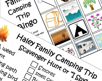 Printable Travel Games. Kids Personalized Camping Bingo and Scavenger Hunt (or I Spy)  Download  PDF. Print
