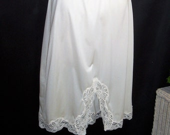 Size Large - Vintage Half Slip - Shadowline - Cream - Beautiful Lace Trim - Nylon - Made in USA