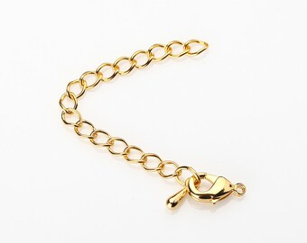 Extension Set, Jewelry Supply ,  Craft Supplies , with Polished Gold Plated Lobster Clasp, 8 sets [Extension-PG]