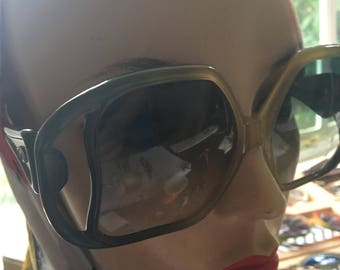 1970s Green Dior Huge Oversized  Sunglasses with red lenses