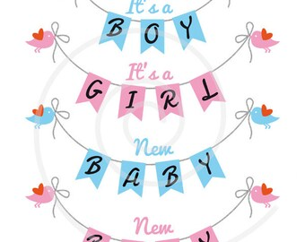Baby shower, new baby, boy, girl, blue and pink bunting flags, garland, digital clip art, commercial use, PNG, EPS, SVG, instant download