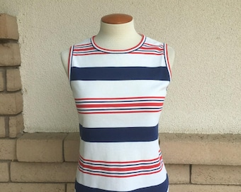 70s Tank Top Red White Blue Striped Shell Back Zip Patriotic July 4th Tank Top Size S-M