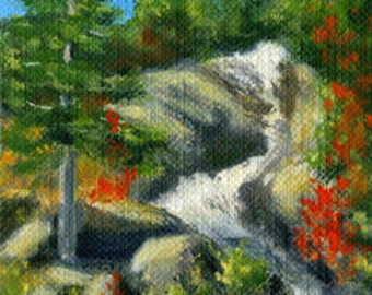 Original ACEO oil painting of the Jackson, NH Waterfall by Elaine Farmer
