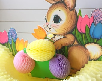 Vintage 1979 Beistle Rabbit Bunny Honeycomb Easter Decoration Centerpiece