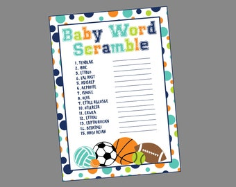 Baby Word Scramble All-Star Sports Baby Shower Game. Instant Digital Download