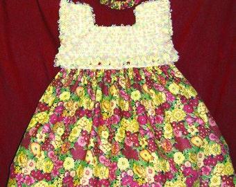 Girls Dress, Girl's School Dress, Girls dress with Roses, Cream Dress, Girl's Cream Dress, Maroon & Cream Dress, Dress With Roses