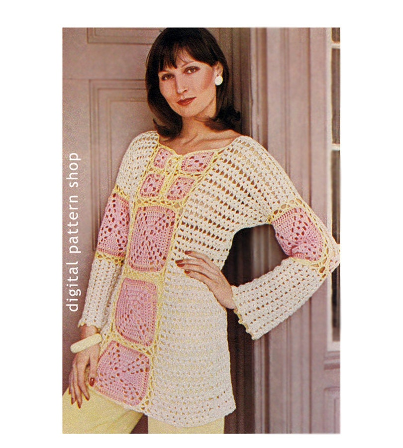 Crochet Pattern Granny Square Top Bell Sleeve Crochet Tunic