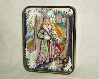 "Russian Lacquer box Mother of pearl ""Snow Maiden and bunny in winter forest"" Hand Painted"