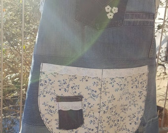 Apron made of jeans with floral fabric