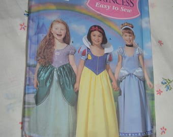 Simplicity 5832 Childrens and Girls Disney  Princess Cinderella Snow White and Little Mermaid Costumes Sewing Pattern UNCUT Size 3 4 5 6