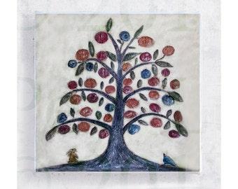 Floral Art  - Tree of Life - Art Block - 5x5 Canvas Print on Wood Frame - Folk Art -  Folk Art - Botanical Wall Art - Nursery Decor