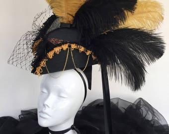 Steampunk black and gold tricorn headpiece pirate hat