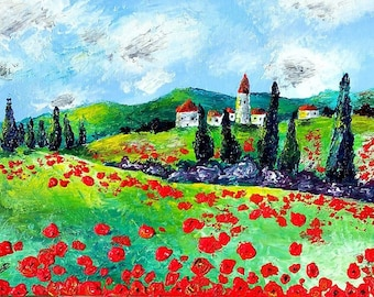 Landscape painting red poppies on canvas by Sabrina RIGGIO