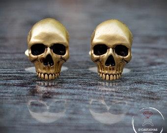 Cufflinks Skulls, Gold plated Cufflinks Skulls, Men's Cufflinks, Badass Jewelry, Gothic Jewelry, Biker jewelry, Gold plated 24k