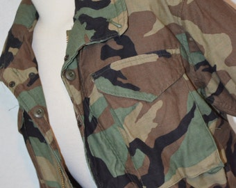 Authentic Vintage Military Issue Camouflage Cold Weather Military Parka - Men's S or Women's M