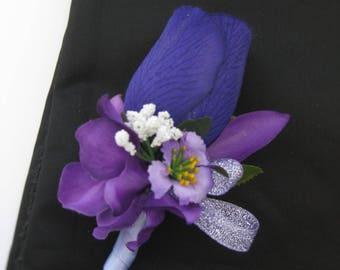 Metallic Purple Silk Flower Wedding Prom Boutonniere Groom Groomsmen