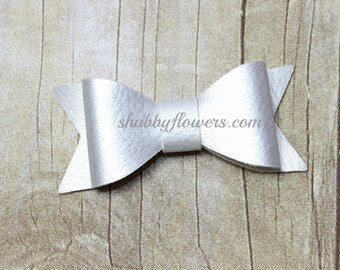 Faux Leather Bow in SILVER, Leather Bow, Hair Bow, Headband Bow