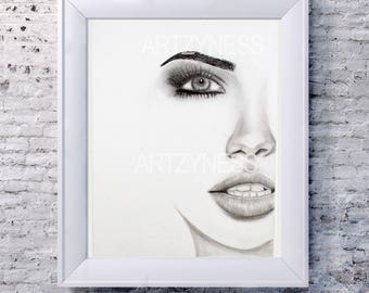 Adriana Lima Pencil Drawing