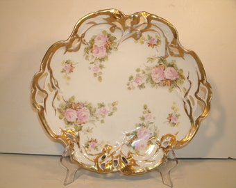1800's German Platter Reticulated Open Work Gilt Floral Roses Antique Serving Dish Plate Jris Made In Germany Romantic Victorian Decor