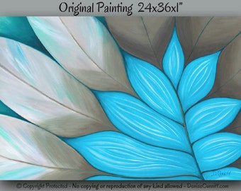 Teal blue home decor, Abstract painting botanical, Canvas art original Large wall art, Bedroom artwork, Aqua Tan brown taupe Turquoise green