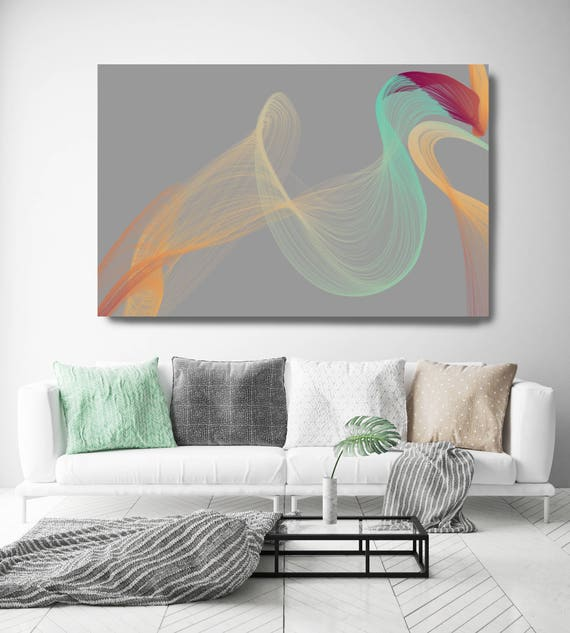 "Color Breeze 4. Abstract New Media Art, Wall Decor, Extra Large Abstract Gray Teal Yellow Canvas Art Print up to 72"" Irena Orlov"