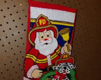 Finished handmade Fireman & Dalmation dog felt and sequin Christmas stocking - fsk33