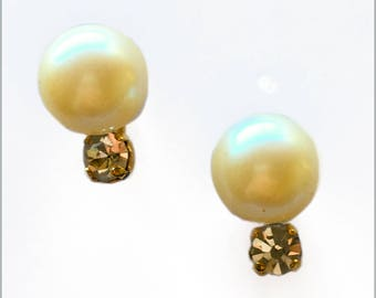 Faux Pearl and Rhinestone Studs