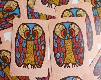 13 Vintage Owl Playing Cards Paper Ephemera Craft Supplies