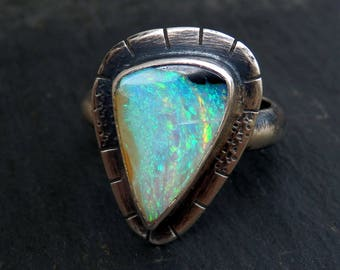 Australian boulder opal ring / opal ring / October birthstone / boulder opal jewelry / rainbow opal / boho opal jewelry / ready to ship gift