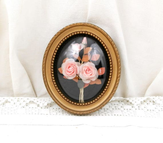 Vintage French Mid Century 1950s Oval Domed Glass Picture Frame with Silk Rose Flower Composition, Floral Arrangement Wall Hanging, 1960s