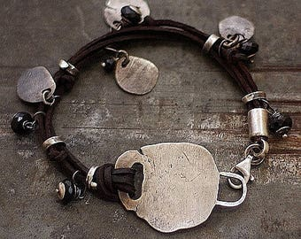 leather bracelet and black spinel with raw sterling silver • charm bracelet • Gift for her • sterling silver leather bracelet modern