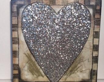 Mixed media glitter heart artwork
