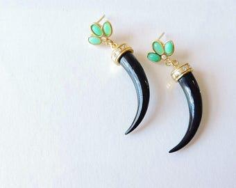 14ct Gold Nuphar Chrysophrase and Diamond Tusk Earrings