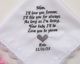 Wedding Handkerchief For Mom/Embroidered Handkerchief For Wedding Gift/ Mother of Bride Gift With Handkerchief Gift Box Free