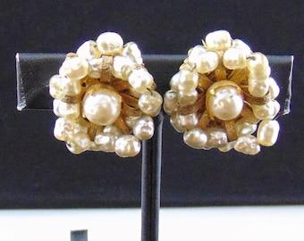 "Vintage Signed Miriam Haskell Glass Baroque Pearl ""Pinwheel"" Design Screwclip Earrings"