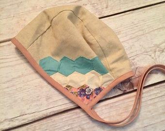 18-24 Month/2T Month Easter Bonnet, Vintage Quilt Bonnet, Baby Easter Bonnet, Reversible Bonnet, Baby Easter Hat, Floral Bonnet