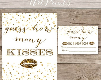 Guess How Many Kisses Bridal Shower Printable, Gold Bridal Shower Printable Game, Bridal Shower Kissing Guessing Game Printable