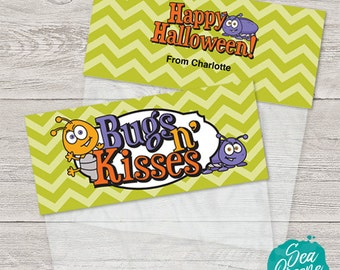 Printable and personalized Halloween tags | treat bag toppers | Bugs and Kisses
