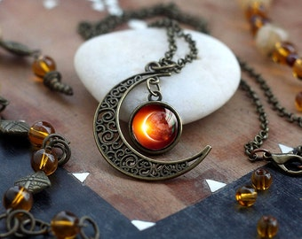 Crescent moon Solar Eclipse Necklace, Space Jewelry, filigree crescent moon charm, Galaxy Pendant, Eclipse Necklace, Sun Moon Lunar Jewelry