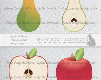 Digital Download Apple & Pear Illustration Clipart for Scrapbooking – Instant Download set of 4 Images for Personal and Commercial Use