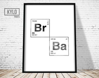 Breaking Bad logo print, Minimalist Black and White Typology design, Pop Culture tv show art, fan illustration, Br-Ba graphic font drawing