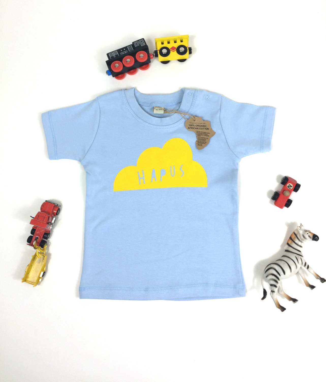 SALE Baby Clothes Dusty Blue T shirt Welsh Text Hapus Happy Cloud Yellow
